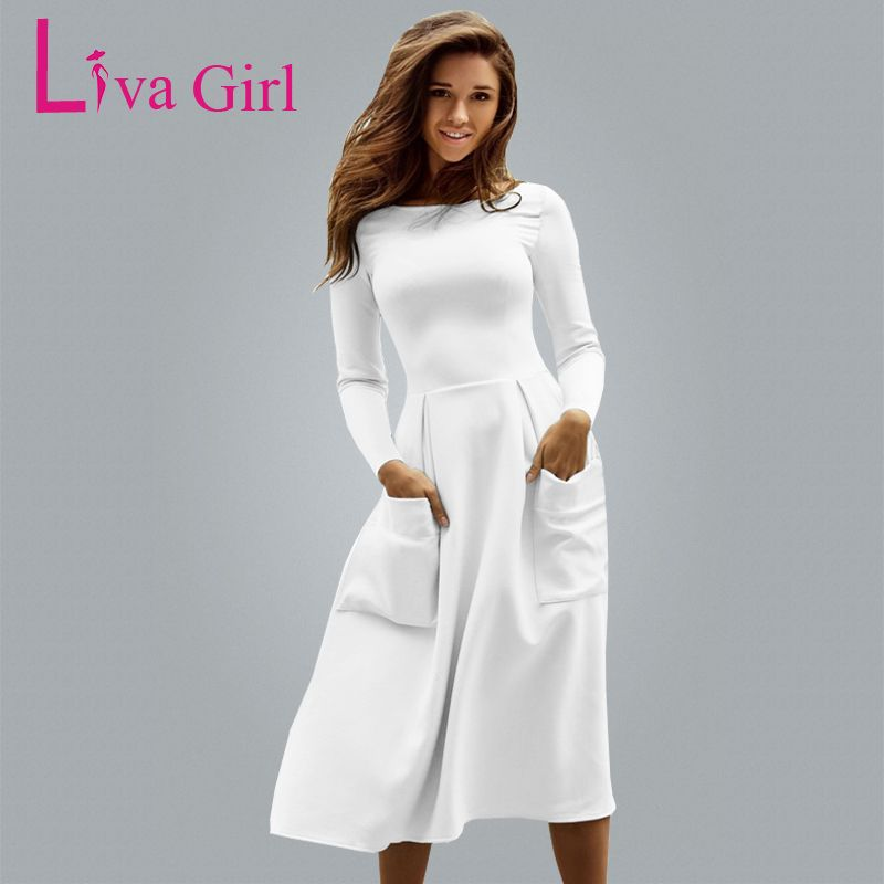Liva Girl Winter Autumn Women Casual Long Dresses Skater Dress Female Long Sleeve White Sexy Midi Dress Office Pleated Dress