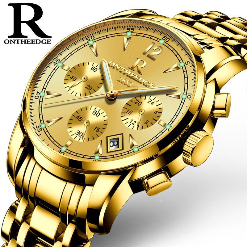 Mens luxury gold wristwatches male brand watches quartz man clock waterproof stainless steel fashion Business calendar ONTHEEDGE