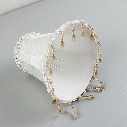 DIA 15 cm/5.9 pouces Blanc abat-jour avec perles, applique et Lustre Mini Abat-jour, clip Sur