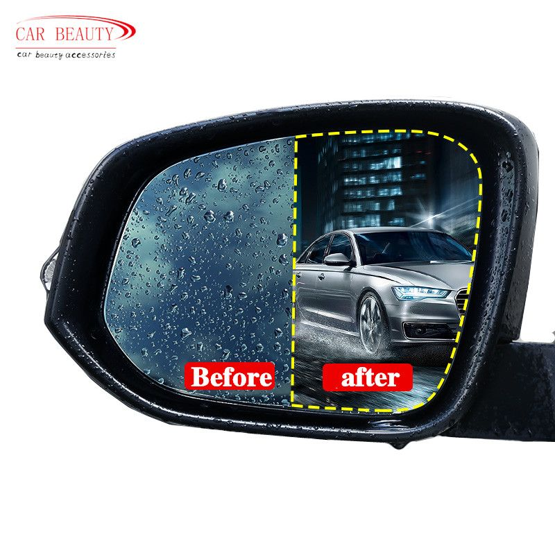 2pcs Rainproof Car Rearview Mirror Film Sticker Anti-fog Protective Film Rain Shield Replacement