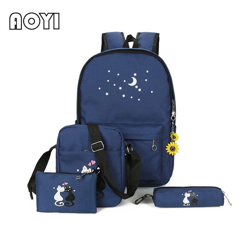 AOYI 4 шт./компл. женщины рюкзак милый кот Сердце Звезда печати Мода школа обратно Сумки для девочек-подростков знаменитая сумка Mochila Новый