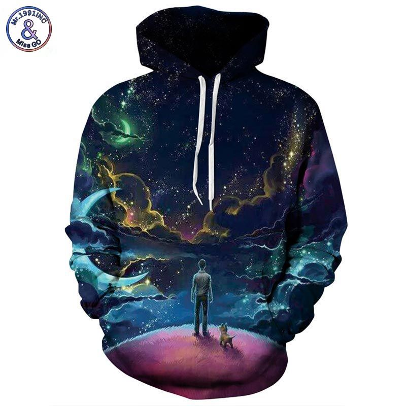 Mr.1991INC Colorful <font><b>Clouds</b></font> Sky Hoodies Men/Women 3d Sweatshirts Print Person and Dog Hoody Unisex Hooded Tracksuits Tops