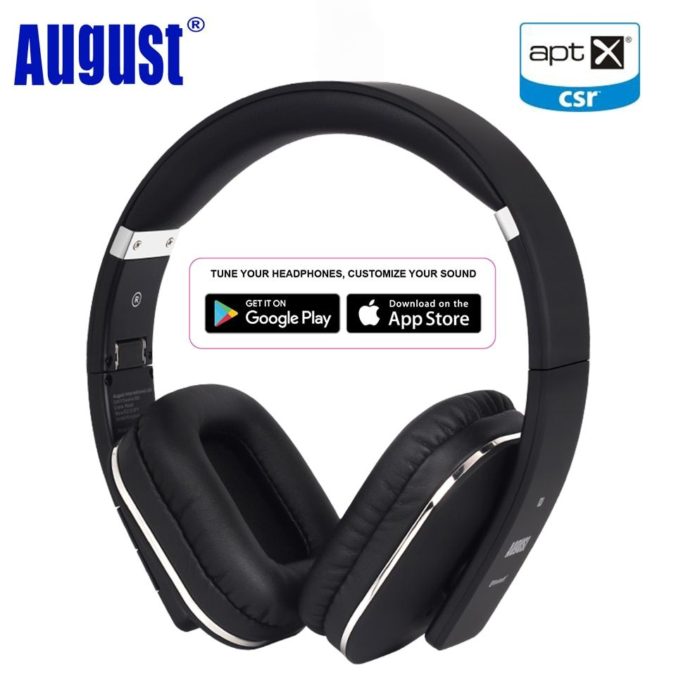 August EP650 Upgrade Over Ear Bluetooth Wireless Headphones with EQ APP Control Bass Rich Sound BT 4.2 Headset with NFC/aptX-LL