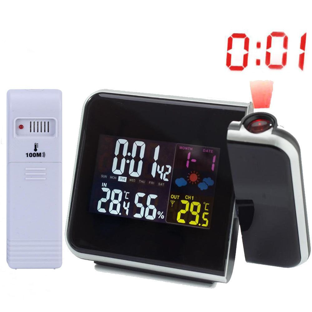 Digital Projection Alarm Clock Weather Station with Temperature <font><b>Thermometer</b></font> Humidity Hygrometer/Bedside Wake Up Projector Clock