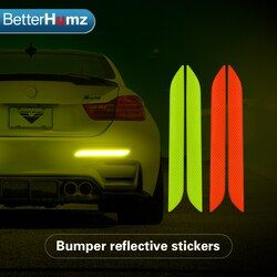 Betterhumz For BMW Universal 2pcs Car Trunk Tail Safety Warning Reflective Stickers Car Lighting Luminous Reflector Rear Decal