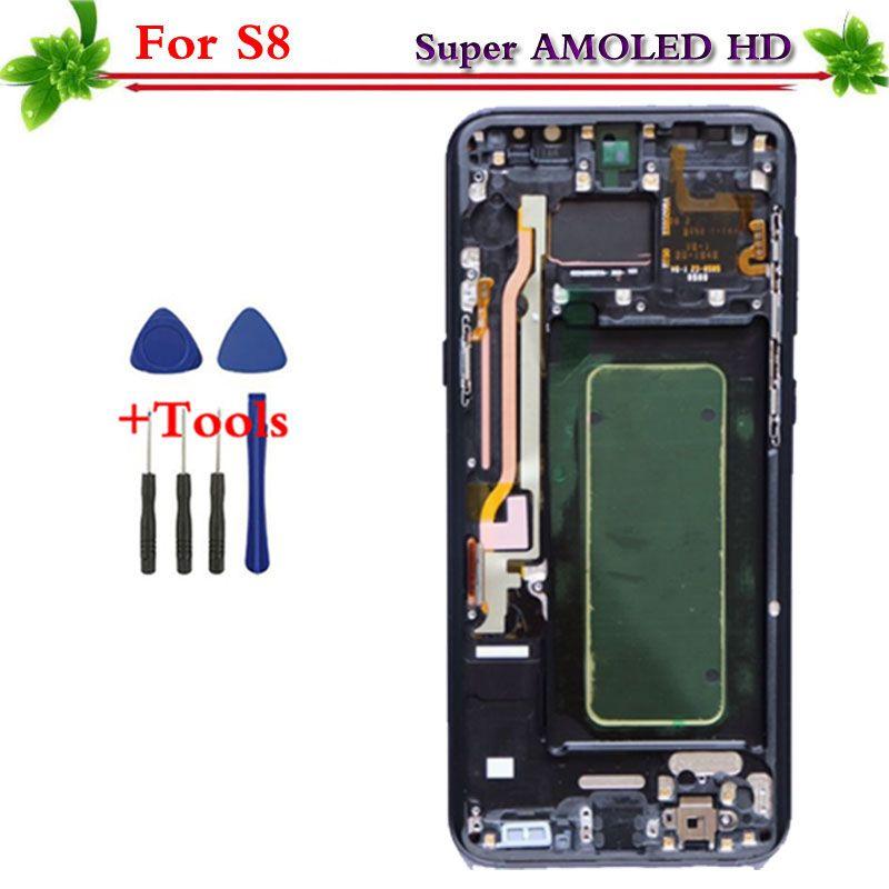 Hohe Qualität AMOLED Ersatz für Samsung Galaxy S8 G950 G950F LCD Touch Screen Digitizer Montage Mit Flamme Kostenlose Tools