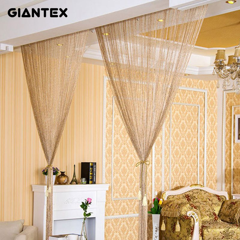 GIANTEX 2.9x2.9m Shiny Tassel <font><b>Flash</b></font> Silver Line String Curtain Window Door Divider Sheer Curtains Valance Home Decoration U0978