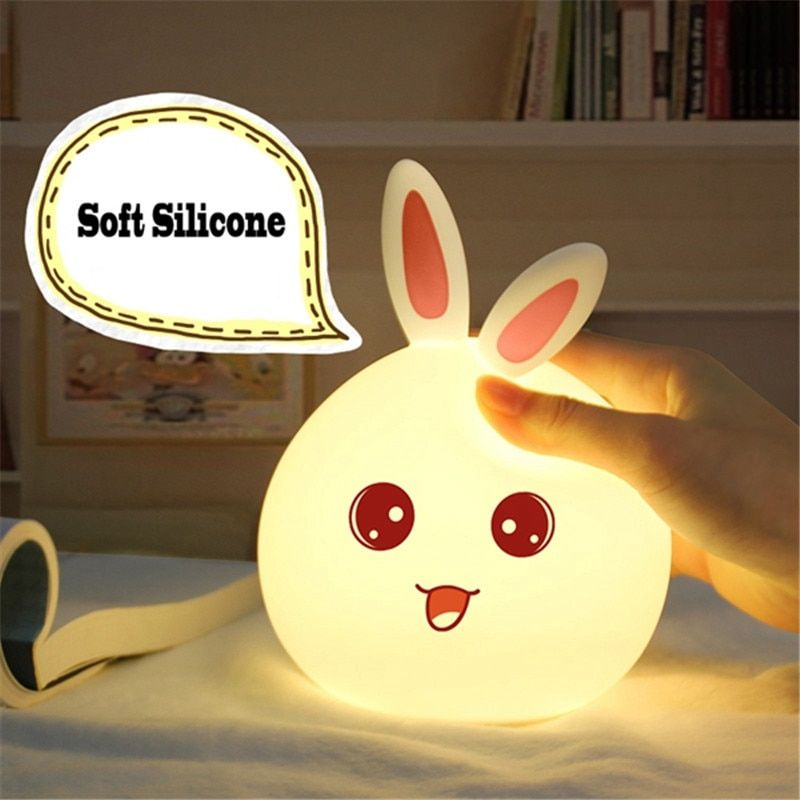 Cute Rabbit LED RGB Night Light Control Silicone Touch Sensor Children Baby Bedside Lamp Children's Toys Christmas Birthday Gift