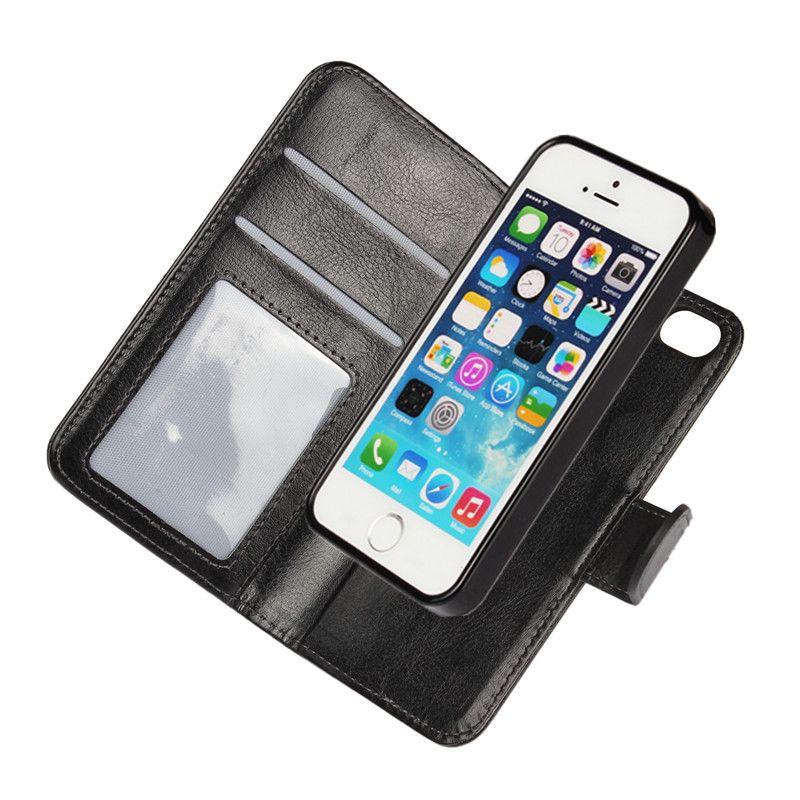 Housse pour iPhone SE 5 S 5 Etui magnétique détachable portefeuille cuir 2 en 1 Coque Etui pour iPhone 5SE 6 S 6 S 7 8 Plus X Capinhas