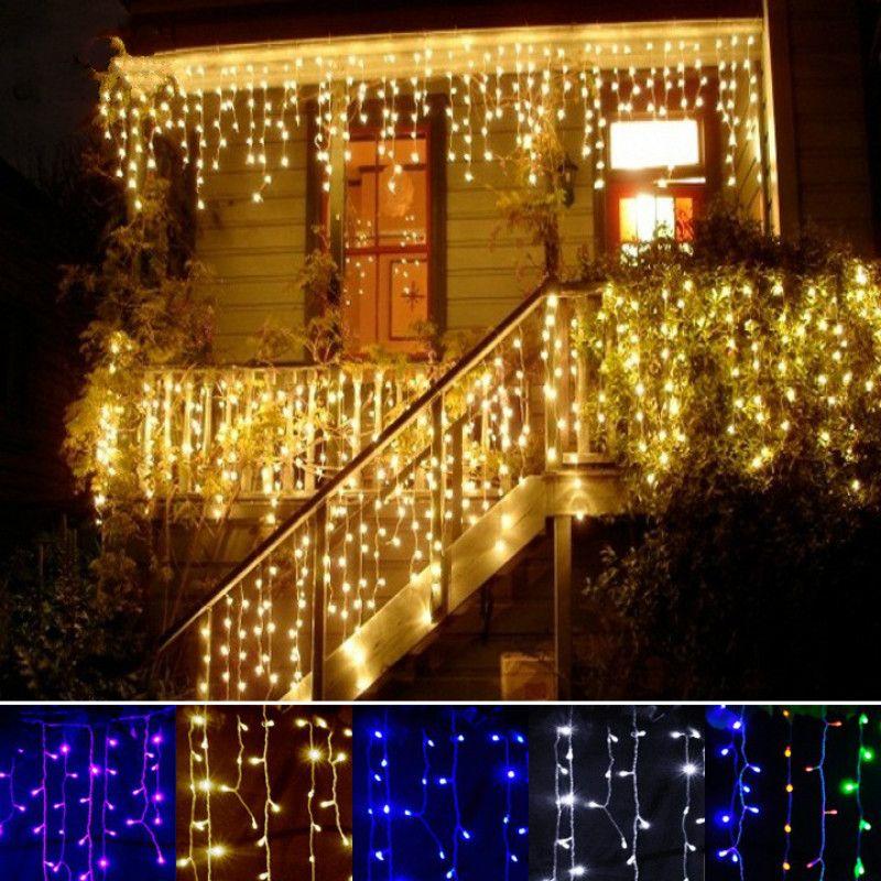 Рождество огни Открытый Водонепроницаемый 3.5 м Droop 0.3-0.5 м Шторы Гирлянды светодиодные фонари украшение света строка открытый