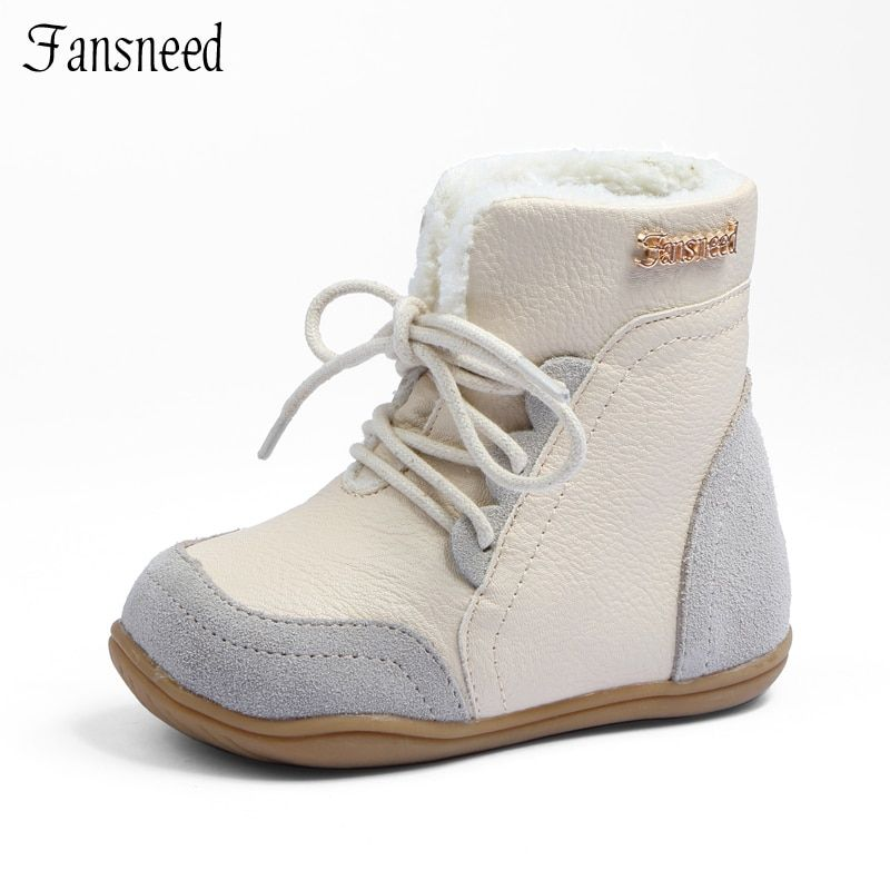 Genuine leather child slip-resistant female snow boots child boots <font><b>male</b></font> medium-leg child cotton-padded shoes soft outsole baby