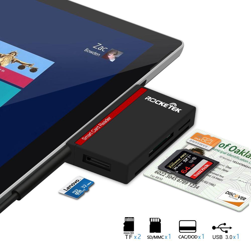 Rocketek USB 3.0 Smart Card Reader adapter for SD/TF micro SD ,ID,Bank card,sim cloner connector Microfoft Surface Pro 3/4 Hub