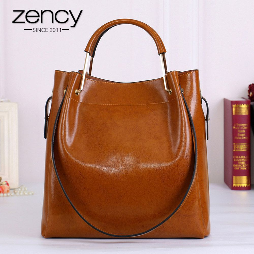 Zency Fashion Brown 100% Genuine Leather Women Handbag Simple Travel Tote Bag Large Capacity Lady Shoulder Bags Crossbody Purse