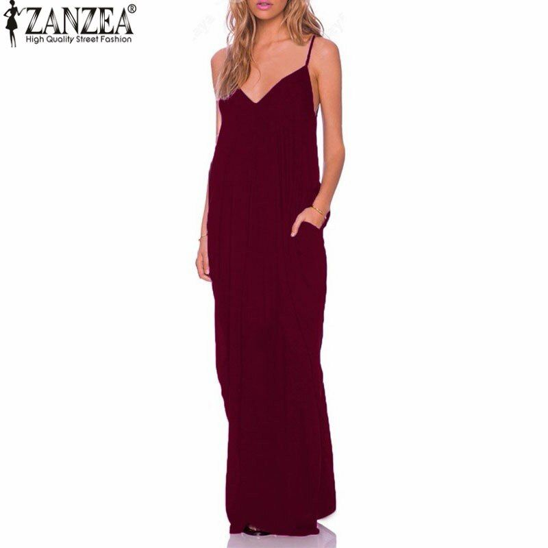 ZANZEA 2019 été robes femmes Robe sans bretelles col en v sans manches Baggy longues robes Sexy plage Robe d'été Femme S-5XL