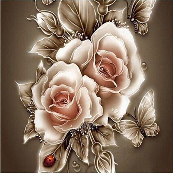 Nouveau Diamant mosaïque plein de diamants broderie perles papillon rose fleurs floral diamants point de croix peinture Inlay travail manuel