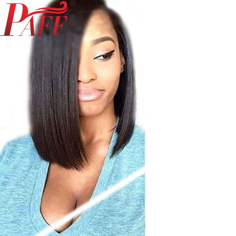 PAFF <font><b>Short</b></font> Bob Lace Front Human Hair Wigs With Baby Hair PrePlucked Straight Brazilian Remy Hair Wigs Bleached Knots Middle Part