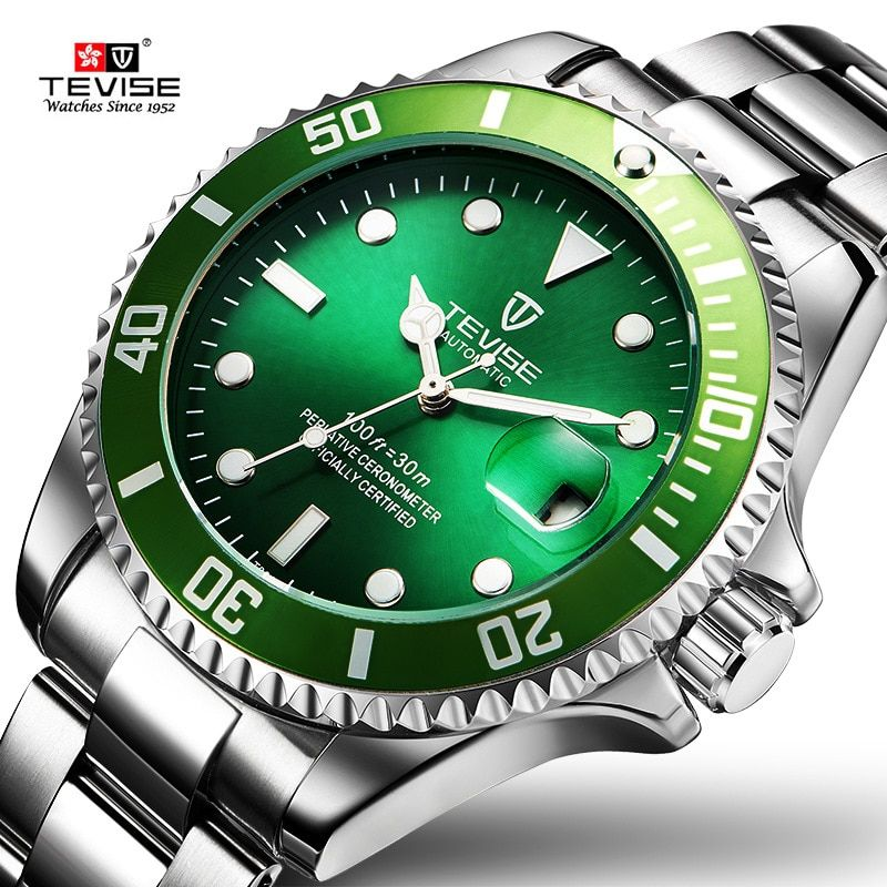 TEVISE Green Watch Men Automatic Mechanical Anti-Scratch Rotatable Outer Ring Waterproof Luminous Mens Watches Top Brand Luxury