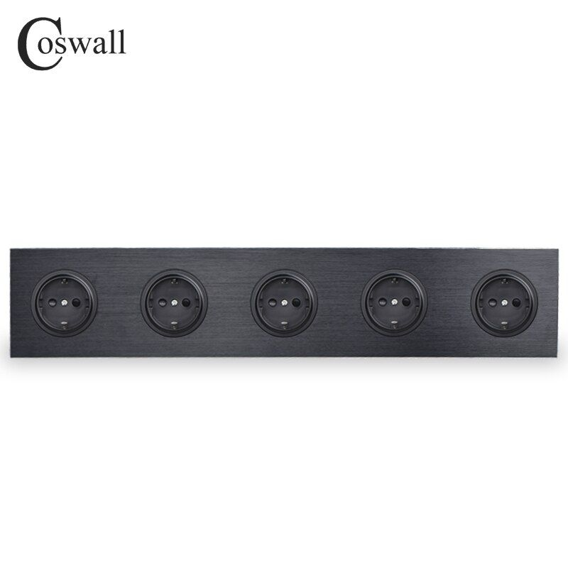 Coswall Black Aluminum Panel 16A Quintuple EU Standard Wall Power Socket 5 Way Outlet Grounded With Child Protective Lock