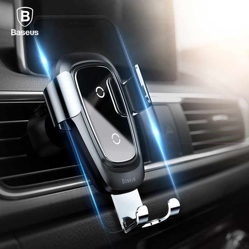 Baseus Qi Wireless Charger Car Holder for iPhone X 8 Samsung S9 Plus Mobile Phone Holder Stand Air Vent Mount Car Phone Holder