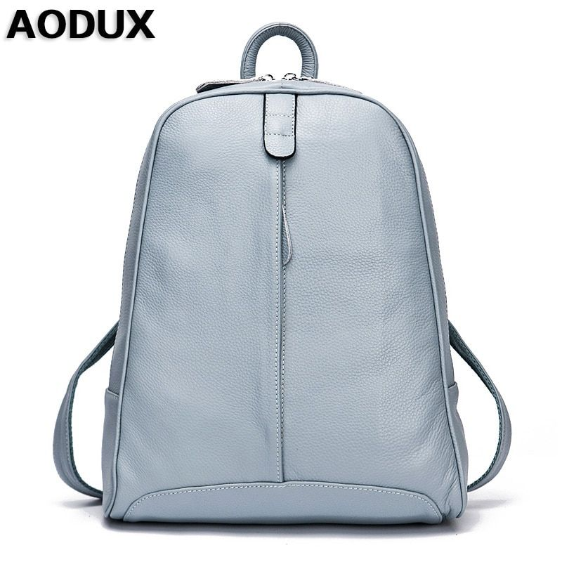 AODUX 100% Genuine Leather Women's Backpack Top Layer Cow Leather School Backpacks Bag Light Blue/Gray/Pink/Black/Beige Color