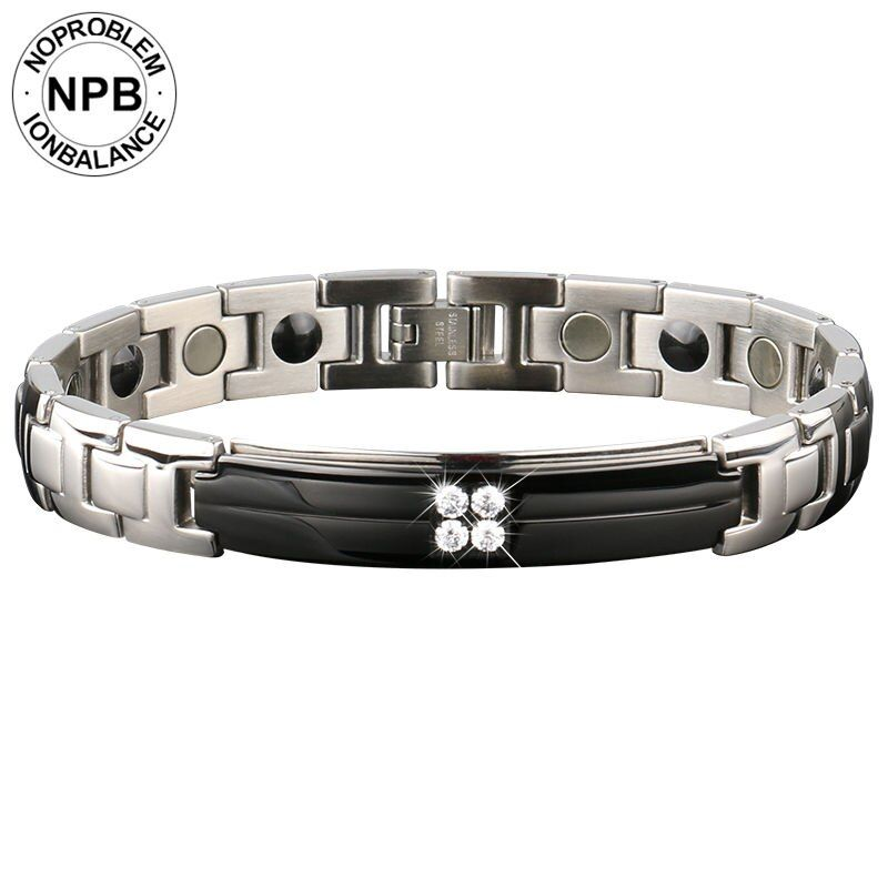 Noproblem 091 choker charm ion energy metal casual therapy infinity men beads magnetic tourmaline germanium bracelet