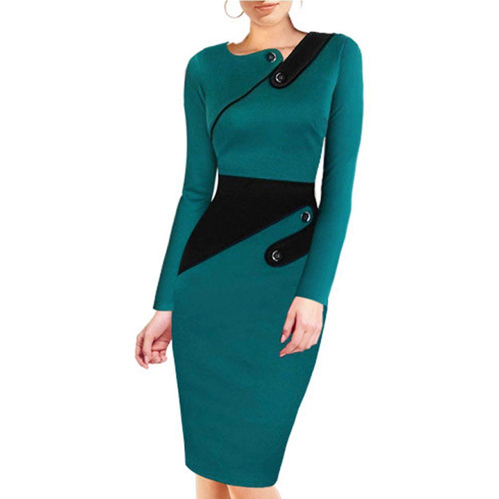Robe noire tunique femmes travail formel bureau gaine Patchwork ligne asymétrique cou genou longueur grande taille robe crayon B63 B231