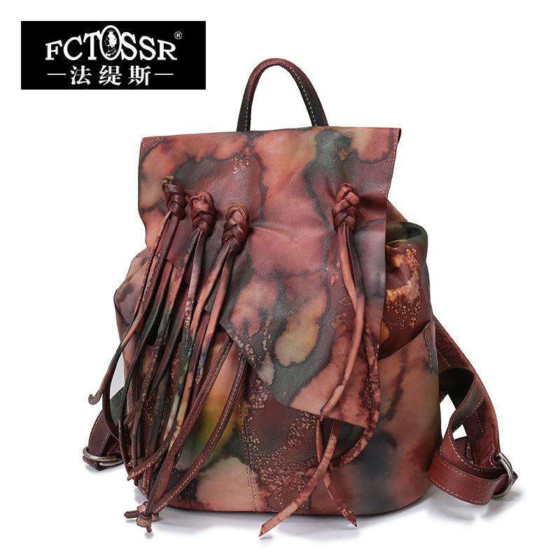 2018 Summer Original Design Genuine Leather Women Backpack Tassel Multi Paint High Capacity Female Vintage Backpack