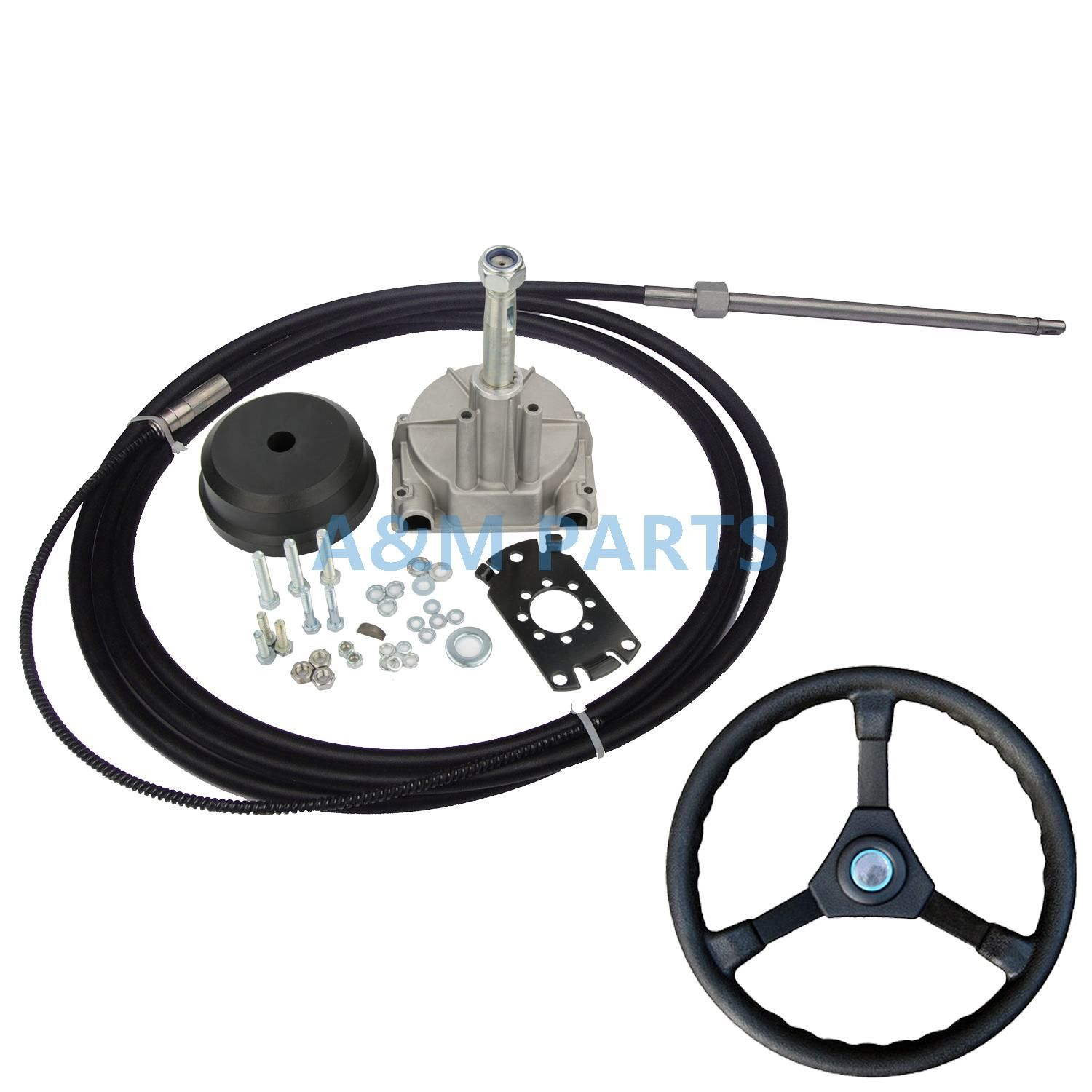 14FT Boat Steering System Single Turbine Rotating W/ Marine Steering Wheel Cable