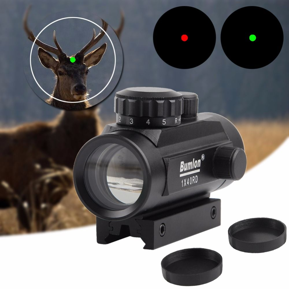 1 x 40 Holographic Red Dot Sight Airsoft Red Green Dot Sight Scope 11mm 20mm Rail Mount Hunting Airsoft Collimator RL5-0013BL
