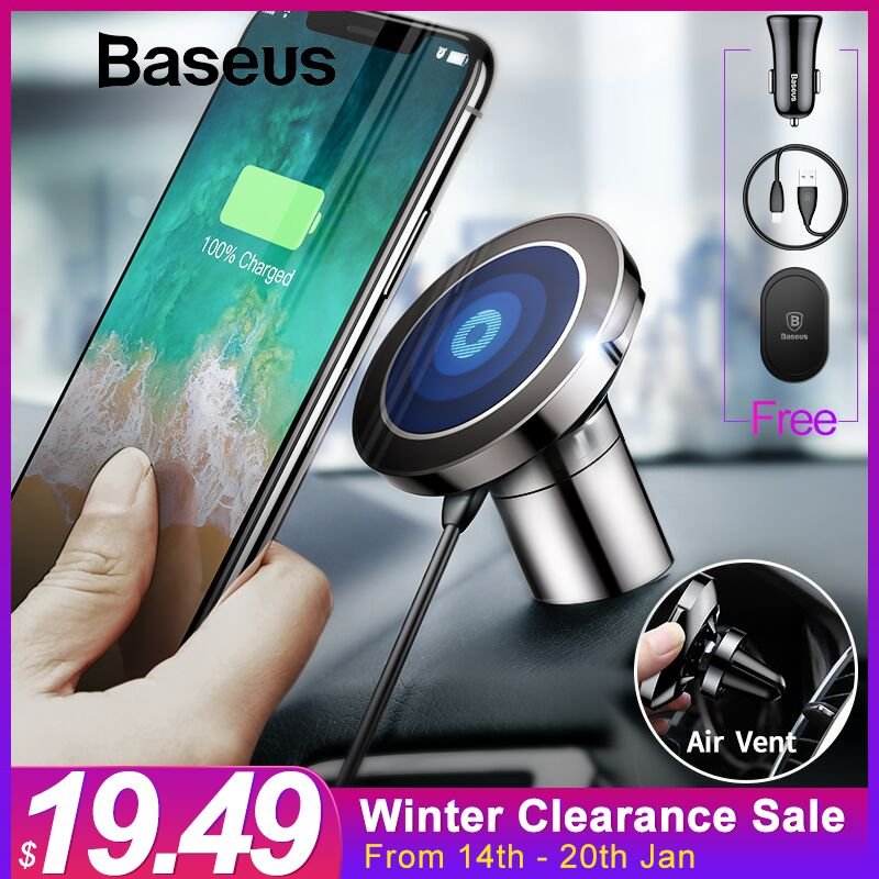 Baseus Qi Car Wireless Charger Magnetic Phone Holder For iPhone XS Samsung Wireless Charging Car Mount Mobile Phone Holder Stand