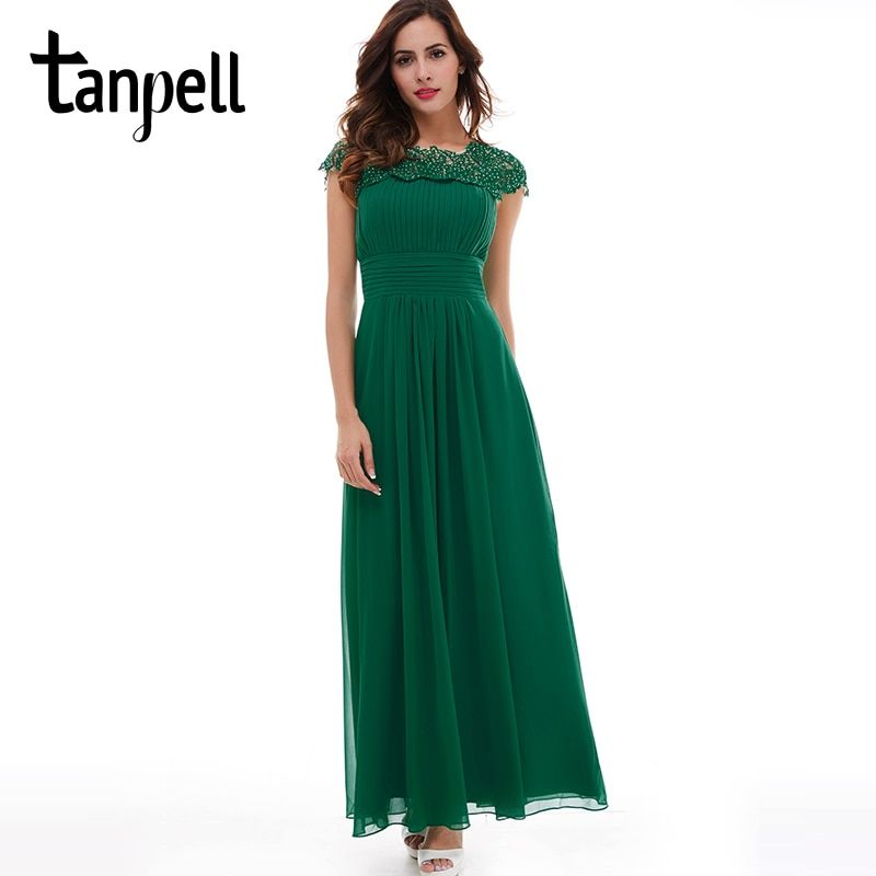 Tanpell long evening dress hunter scoop lace appliques cap sleeves a line floor length dress lady prom formal long evening gown