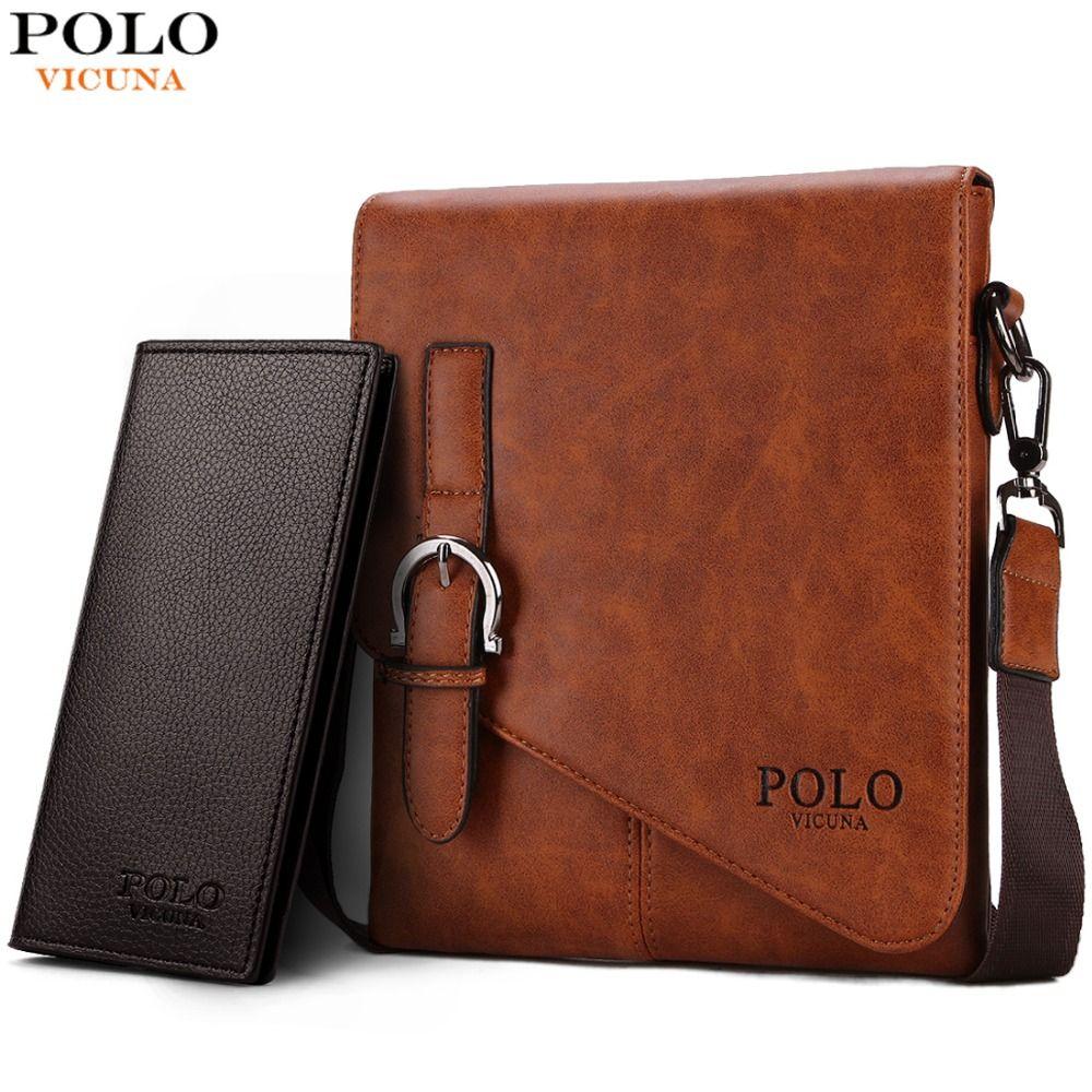 VICUNA POLO Unique Buckle Design Irregular Cover Open Mens <font><b>Messenger</b></font> Bag 2 Sizes Business Men Crossbody Bag Leather Man Bag Hot