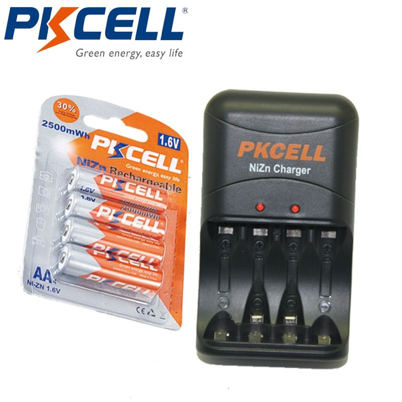 4 pièces PKCELL 1.6 V AA 2250 mWhrs à 2500mWh Batteries NIZN aa Batterie Rechargeable emballé avec Ni-zn Batterie Chargeur Prise UE/USA