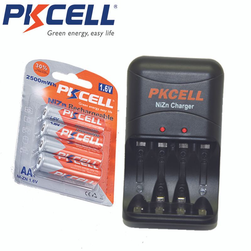 4Pcs PKCELL AA Batteries 1.6V NIZN aa Rechargeable Battery 2250mWhrs to2500mWh <font><b>packed</b></font> with Ni-Zn Battery Charger EU/US PLug