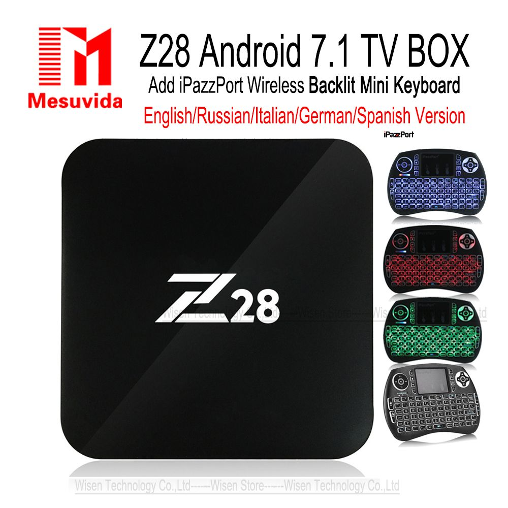 Mesuvida Z28 TV Box Android 7.1 Max 2G 16G RK3328 Quad Core 2.4GHz WiFi H.265 HDMI Media player PK X92 M8s Pro Smart Set Top Box