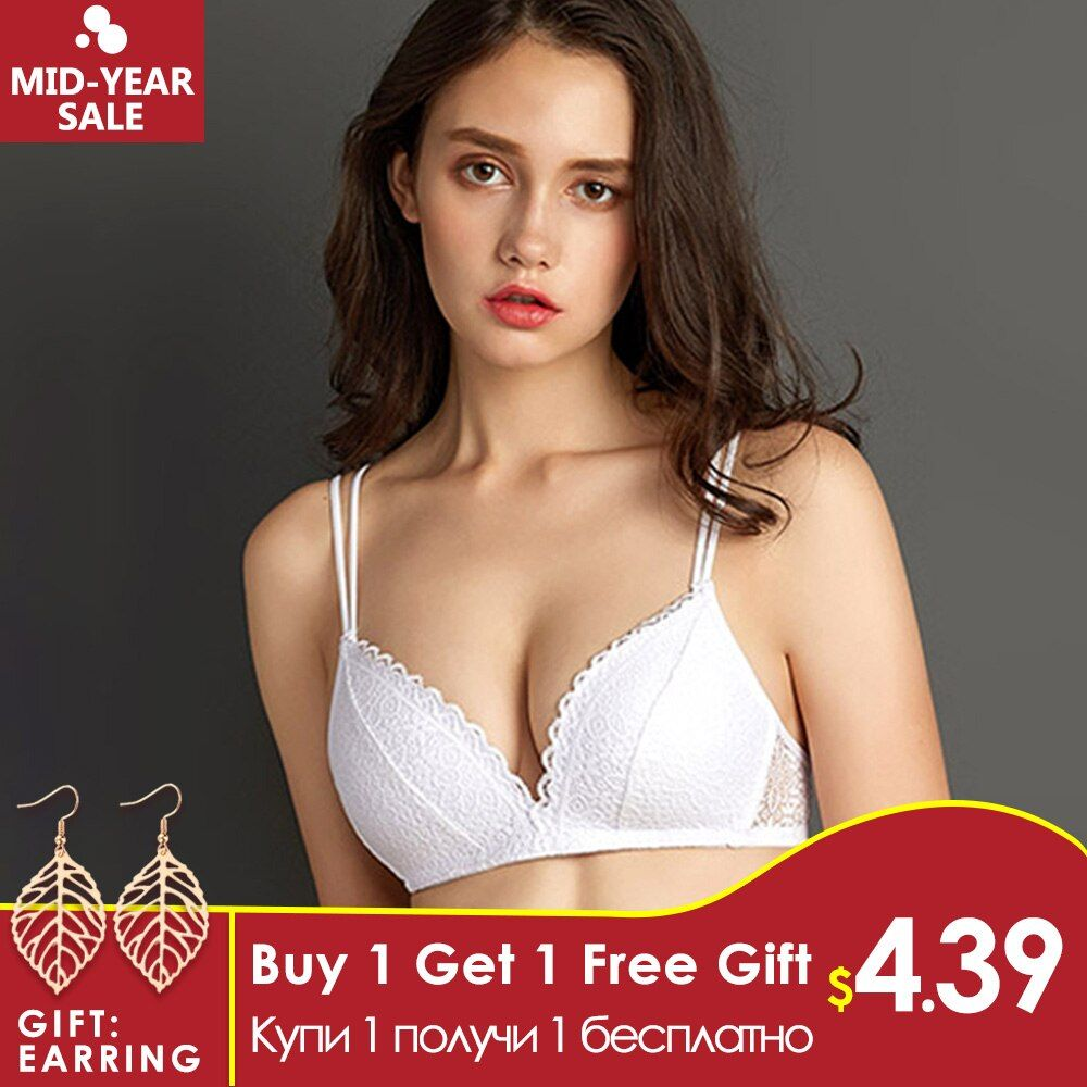 Perfering Black Bra Wire Free Push Up Sexy Women Bras Lace Bralette Lingerie Small Breast Adjusts A B C Bra Female Underwear
