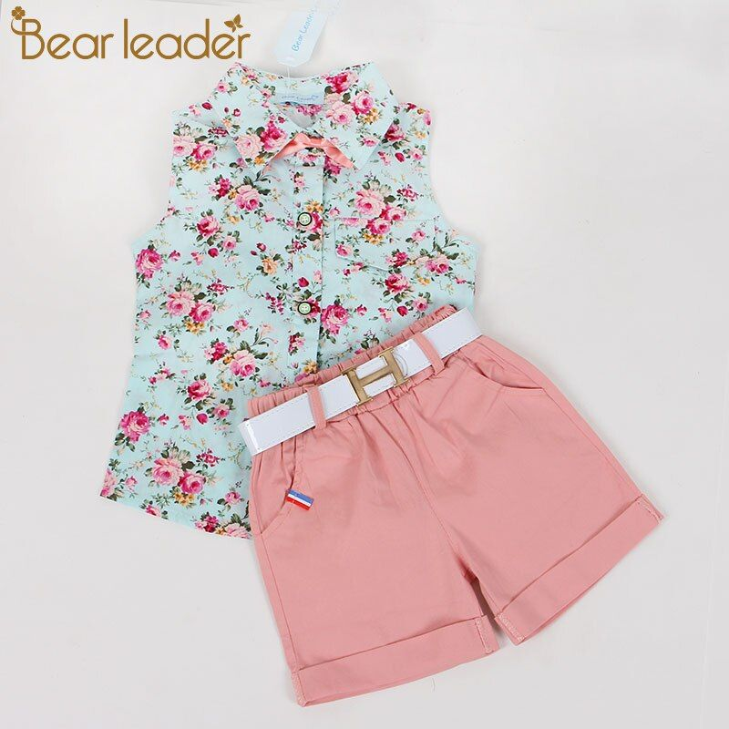 Bear Leader Kids Clothes 2018 Fashion Sleeveless Summer Style Baby Girls Shirt +Shorts + Belt 3pcs Suit Children Clothing Sets