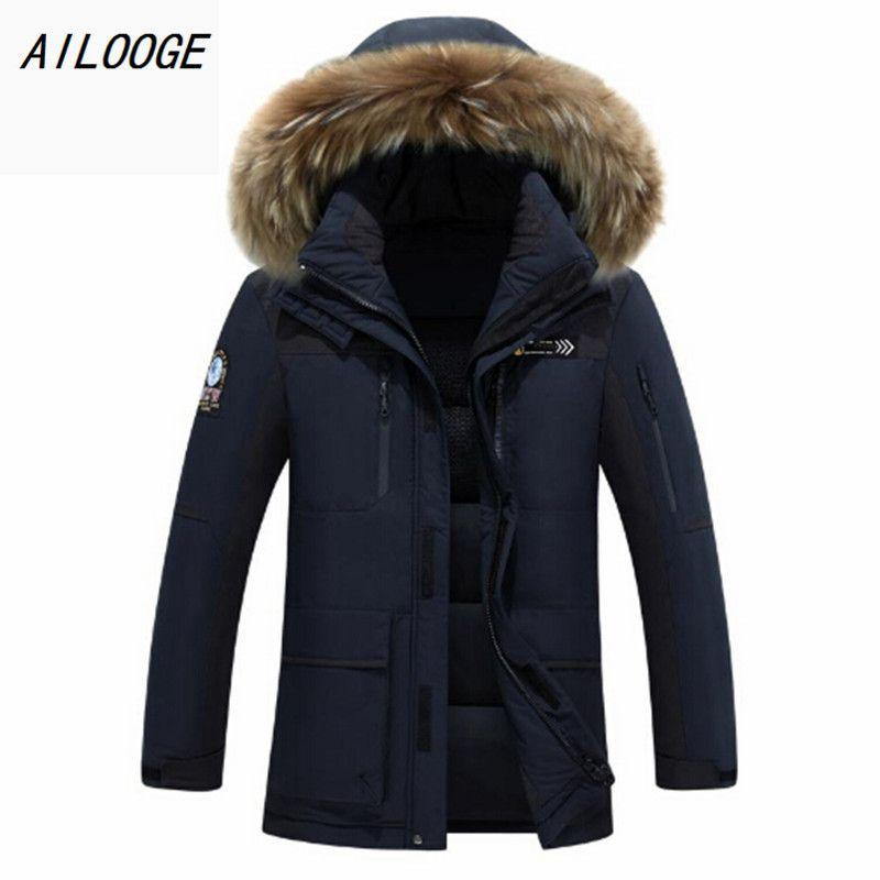 AILOOGE 2018 brand clothing men down jacket winter parka men warm thick coat viishow ice winter canada goode jacket