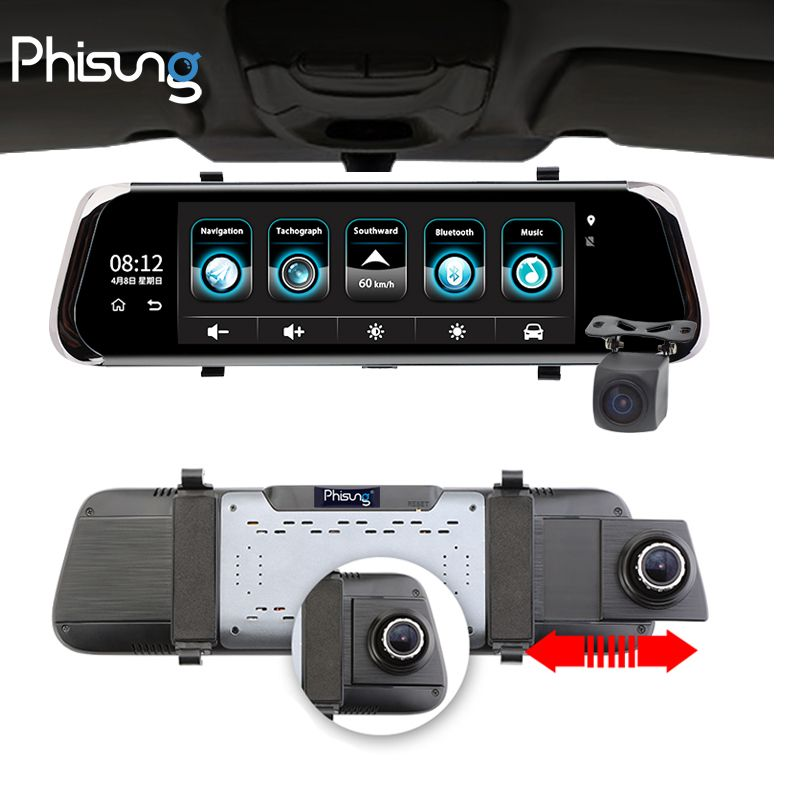 <font><b>Phisung</b></font> E08 Car DVR 10IPS Touch 4G Mirror DVR Android ADAS GPS Navi FHD 1080P WIFI auto registrar rear view mirror with camera