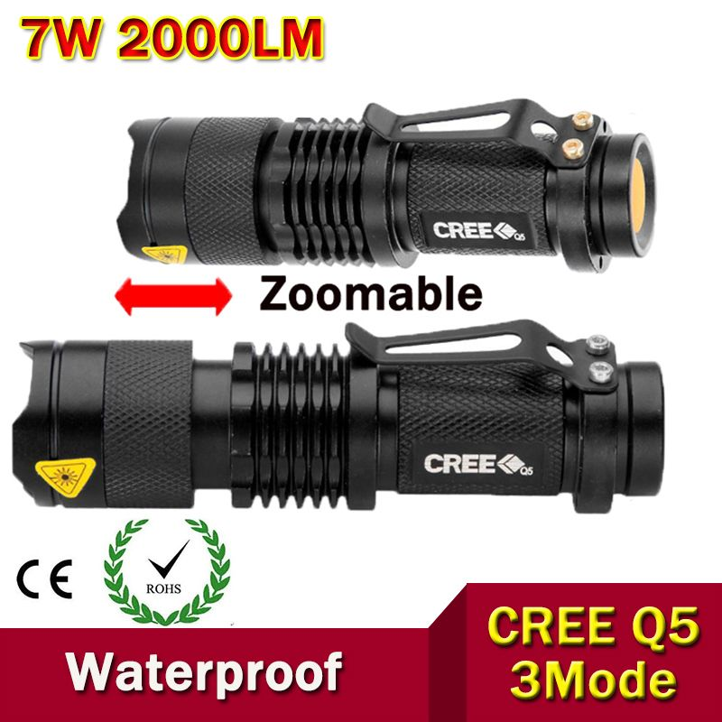 Высококачественные мини светодиодный фонарик Увеличить черный CREE 2000lm Водонепроницаемый LED laterna 3 режима Масштабируемые светодиодный фонар...