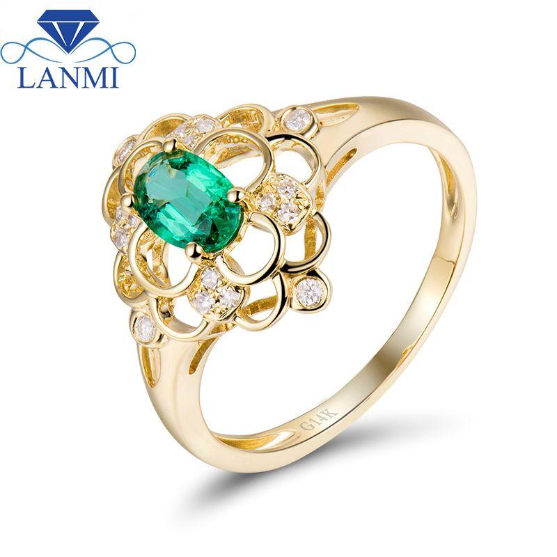 Spezielle Design Kolumbien Smaragd Stein Ring 14 karat Gelb Gold Natürliche Diamant Edlen Schmuck Großhandel für Frauen Hochzeit Schmuck