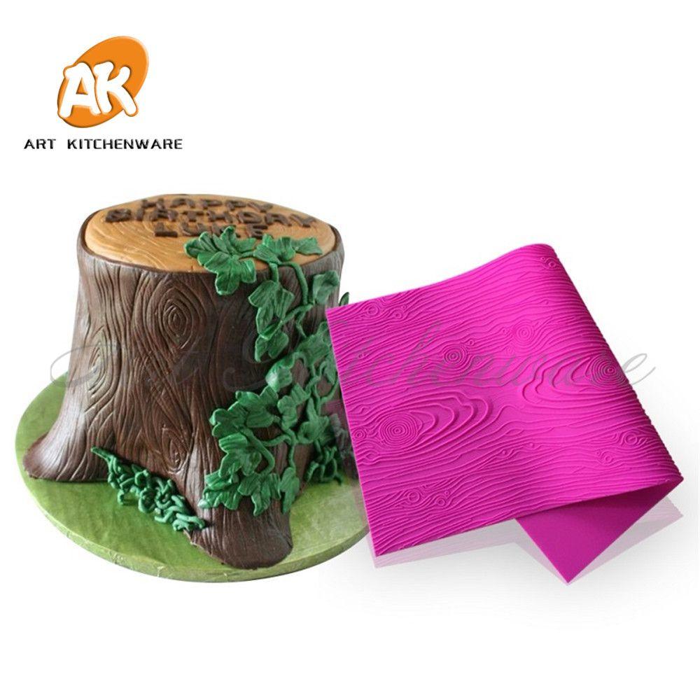 Woodgrain Fondant Impression tapis nouveau modèle décoratif Design gâteau dentelle décorer Silicone Fondant cuisine ustensiles de cuisson BLM-23