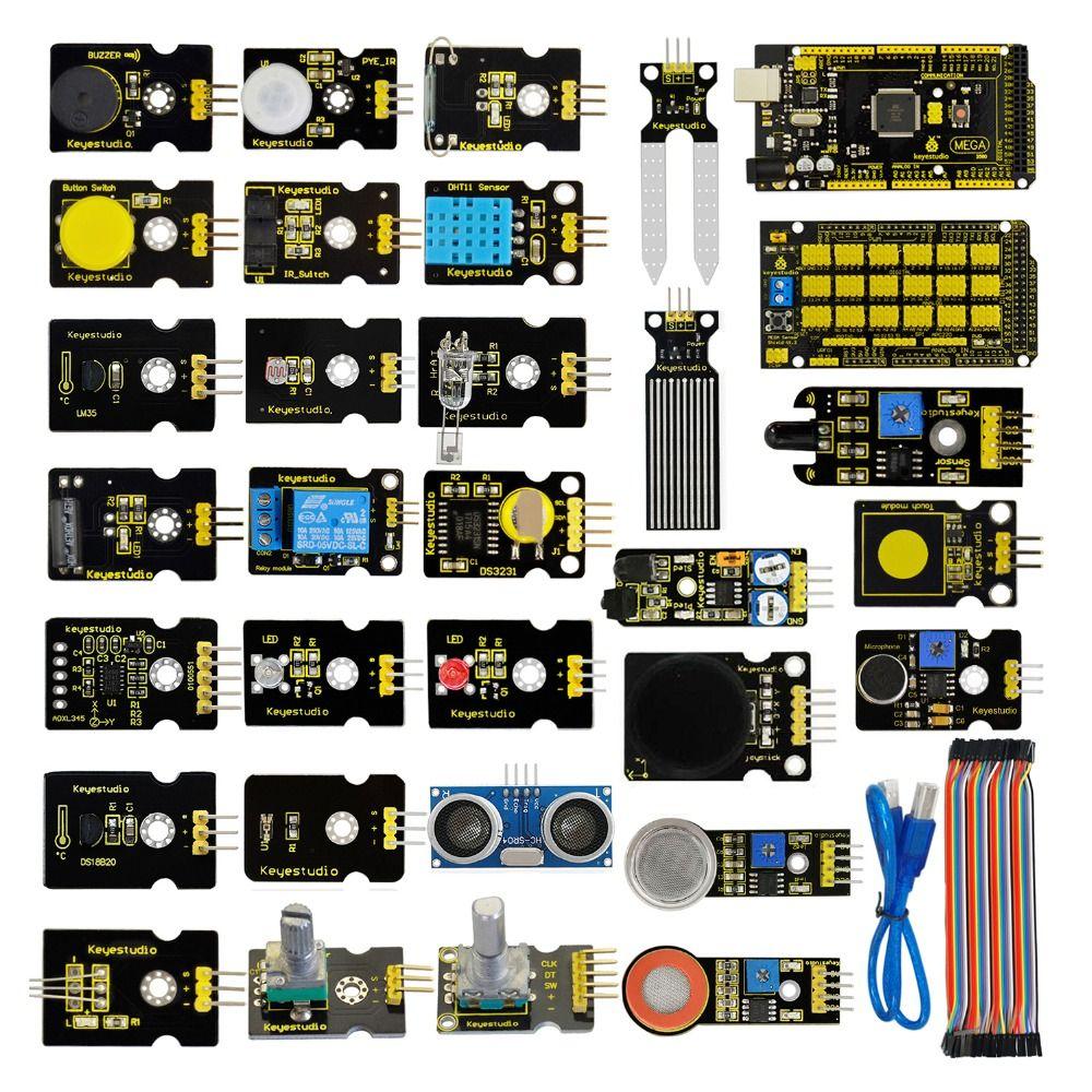 Livraison gratuite! nouveau Capteur Starter Kit (Mega 2560 + Bouclier V1) pour Arduino Projet W/Boîte Cadeau + Capteurs (30 pcs) + PDF (en ligne)