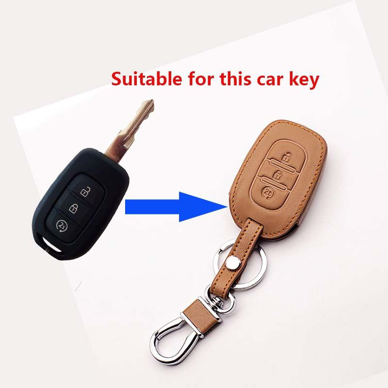 Car Key Cover Case Holder Leather Key  Cover For Renault Duster Logan Sandero Captur Clio Scenic Laguna 2016 2017 Car styling