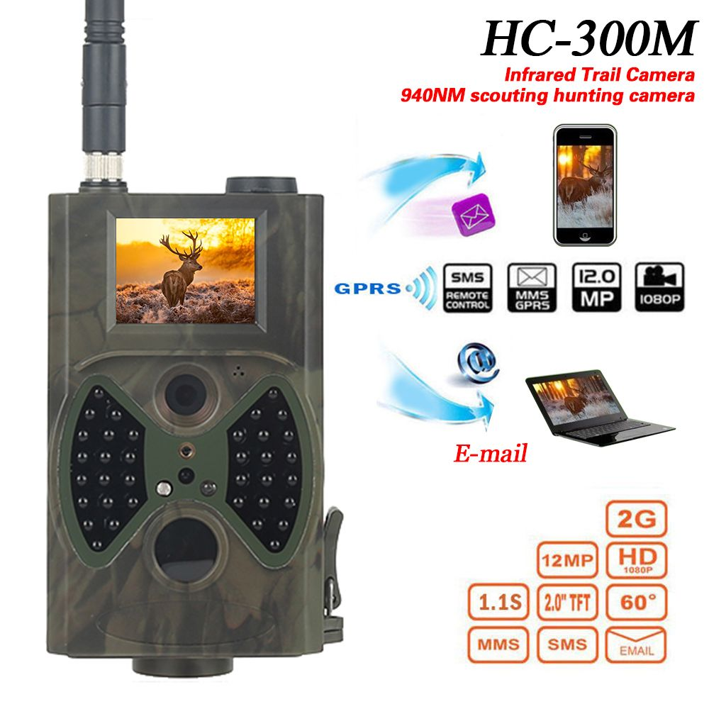 HC300M MMS Hunting Camera 12MP 1080P photo traps night vision wildlife trap Camera trace of infrared hunting Trail Camera CE FCC