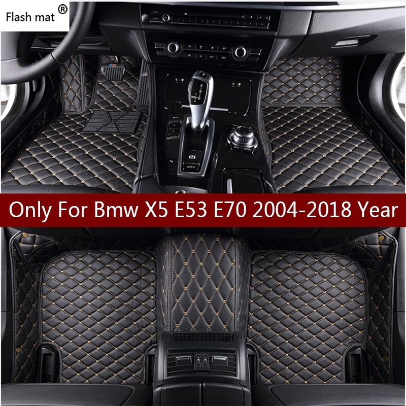 Flash mat leather car floor mats for Bmw X5 E53 E70 2004-2013 2014- 2016 2017 2018 Custom auto foot Pads automobile carpet cover