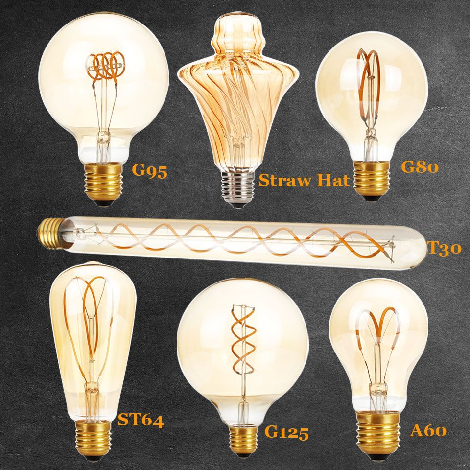 New Unique Retro Spiral Filament LED Bulb 220V G125 G95 G80 A60 T30 Edison Globe Lamp 2200K Warm Yellow For Home Bar Shop