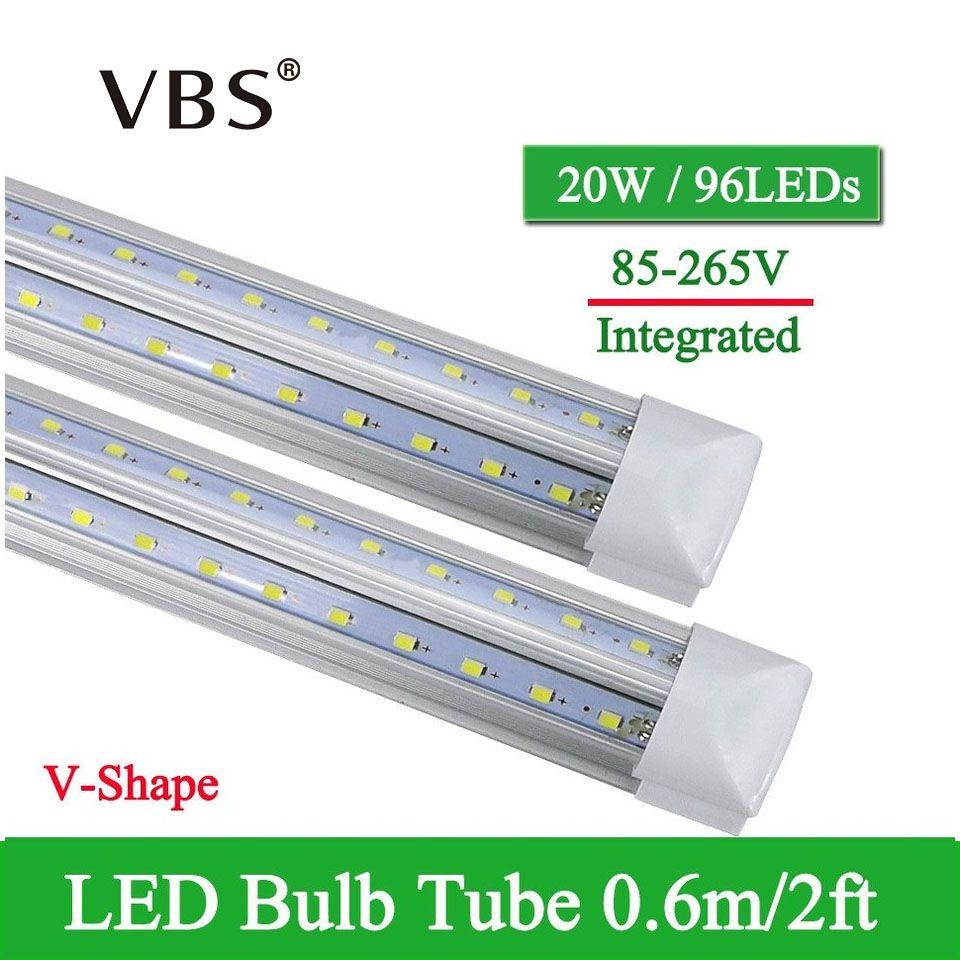 1 pièces V-forme tube LED intégré Lampe 20W T8 570mm 2FT ampoule LED 96LED s LED très brillante Lumière Fluorescente bombillas LED 2000lm
