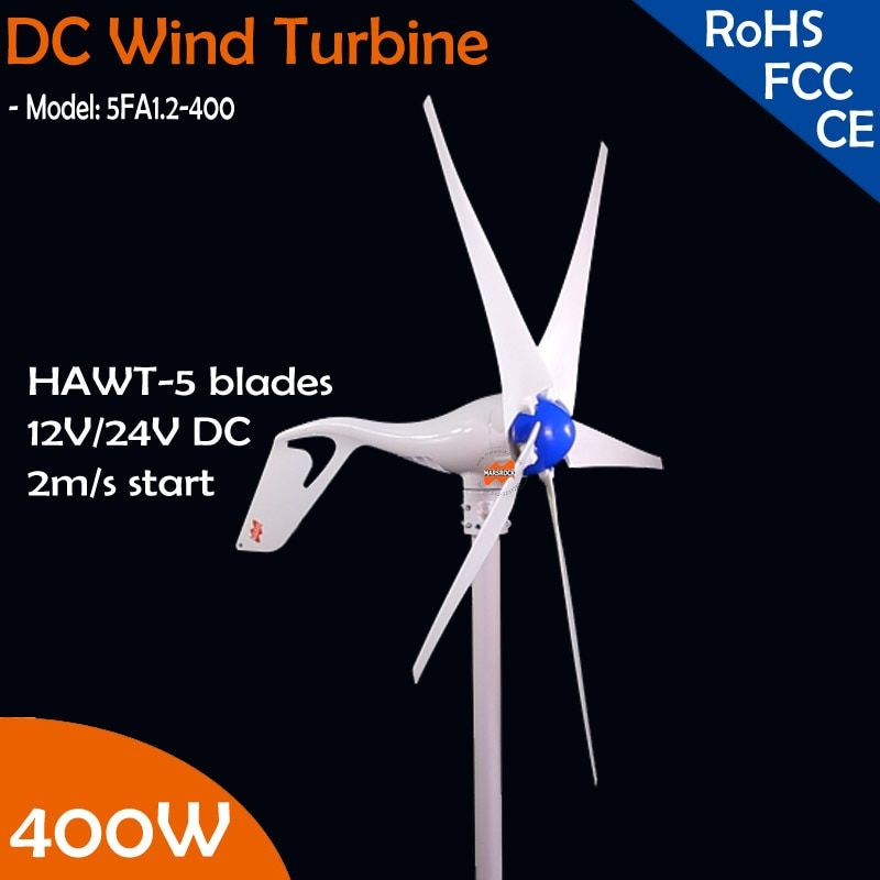 Free Shipping! 400W wind turbine generator, DC12V/24V 5 blade with built-in rectifier module, 2m/s low start wind speed windmill