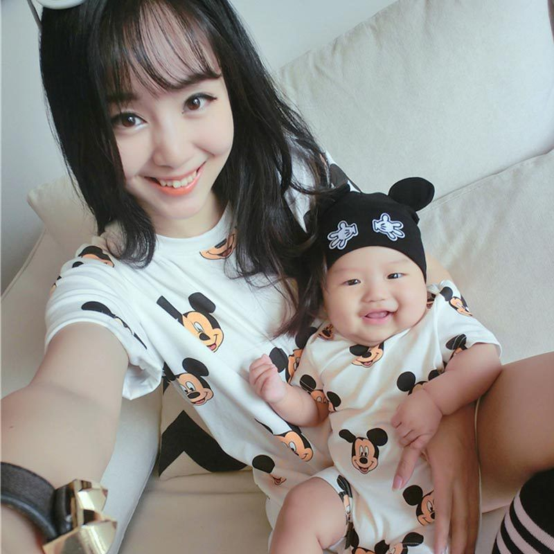 2017 summer family look clothing mother father baby dress mickey rompers matching mother daughter clothes mother son outfits
